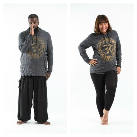 Plus Size Unisex Hoodie Infinitee Ohm Gold on Black