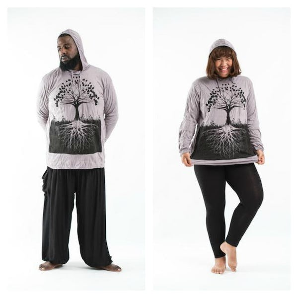Plus Size Unisex Hoodie Tree of Life Gray