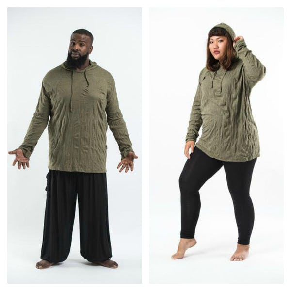 Plus Size Unisex Solid Color Hoodie in Green