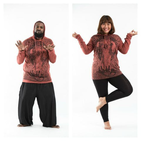 Plus Size Unisex Wild Elephant Hoodie in Brick