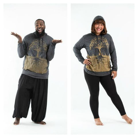 Plus Size Unisex Tree of Life Hoodie in Gold on Black
