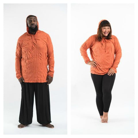 Plus Size Unisex Solid Color Hoodie in Orange
