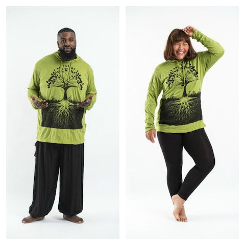 Plus Size Unisex Tree of Life Hoodie in Lime