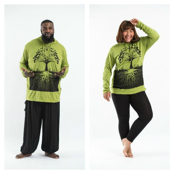 Plus Size Unisex Hoodie Tree of Life Lime