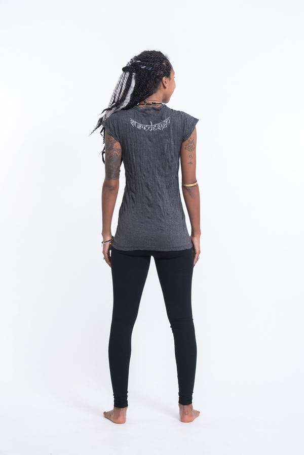 Womens Octopus Chakras T-Shirt in Silver on Black