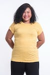 Plus Size Womens Solid Color T-Shirt in Yellow
