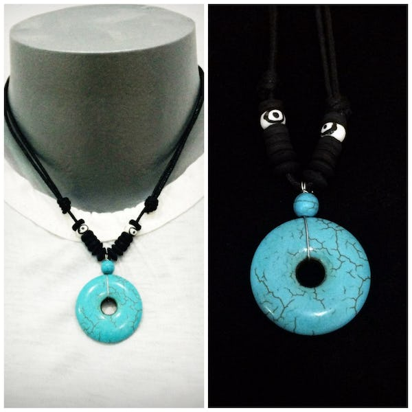Beautiful Hand Made Coconut Shell Turquoise Necklace