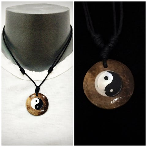 Beautiful Hand Made Yin Yang Coconut Necklace