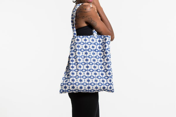 Star Indigo Print Cotton Tote Bag in White