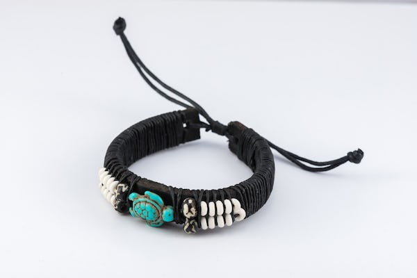 Hand Made Woven Waxed String Leather Adjustable Bracelets With Turtle Charm and Beads