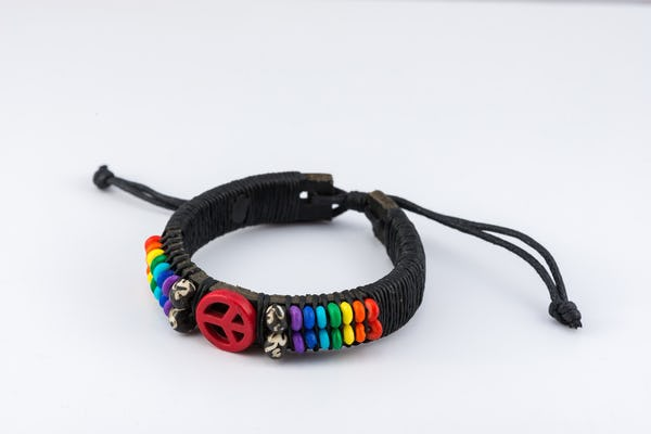 Hand Made Woven Waxed String Leather Adjustable Bracelets With Peace sign Charm and Rainbow Beads