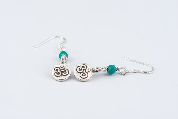 Thai Hill Tribe Sterling Silver Earrings Om Jade