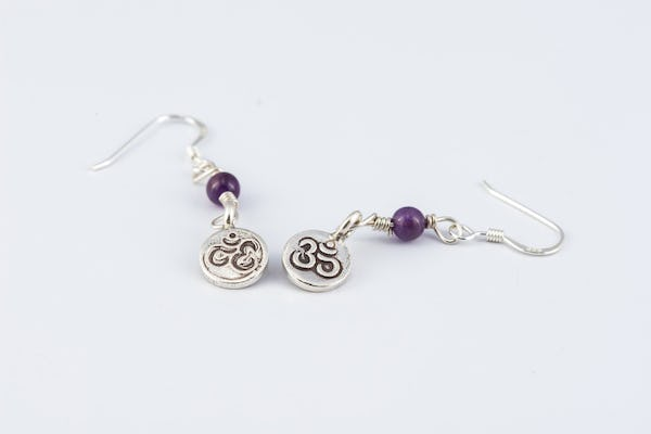 Thai Hill Tribe Sterling Silver Earrings Om Amethyst