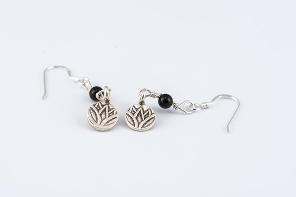 Lotus Sterling Silver Earrings with Onyx