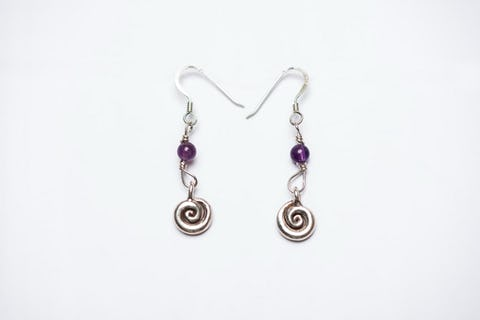 Spiral Sterling Silver Earrings with Amethyst