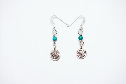 Thai Hand Made Hill Tribe Artisan Silver Earrings Lotus Turquoise