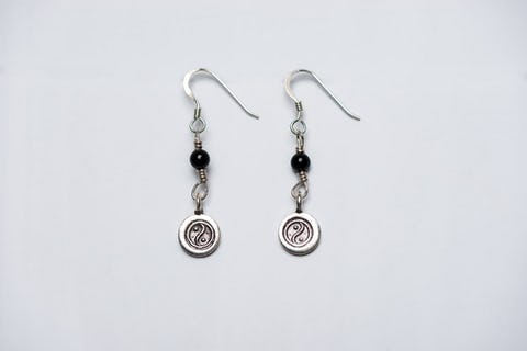Thai Hill Tribe Sterling Silver Earrings Yin Yang Onyx