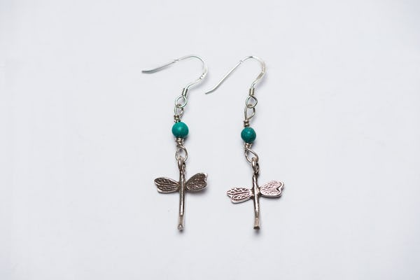 Thai Hand Made Hill Tribe Artisan Silver Earrings DragonFly Jade
