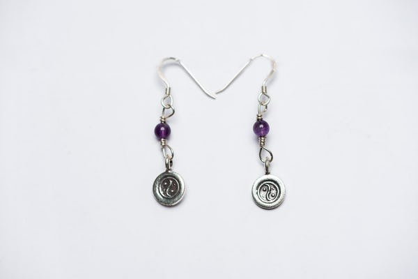 Thai Hill Tribe Sterling Silver Earrings Yin Yang Amethyst
