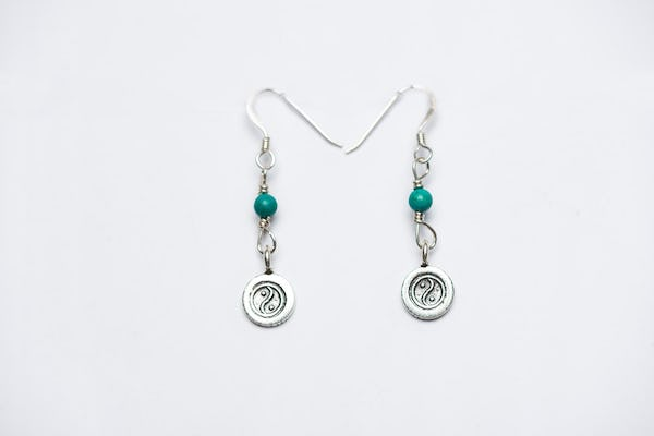 Thai Hill Tribe Sterling Silver Earrings Yin Yang Jade