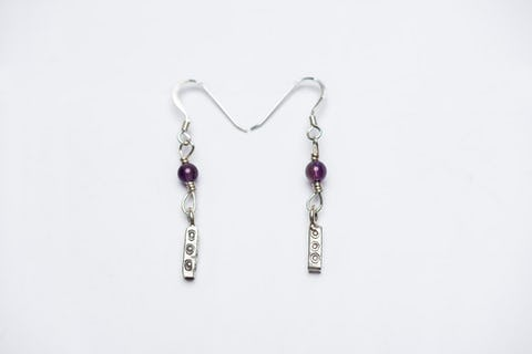 Thai Hill Tribe Sterling Silver Earrings Bamboo Amethyst
