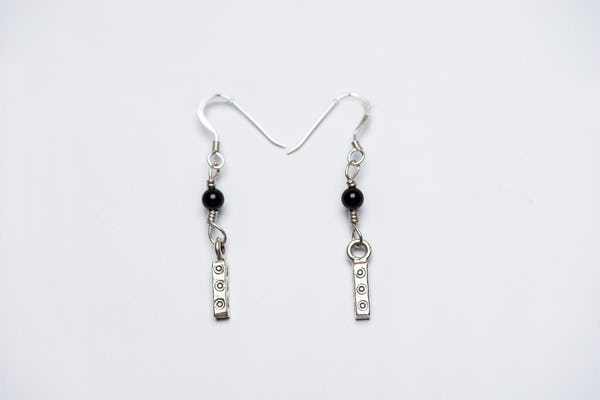 Thai Hill Tribe Sterling Silver Earrings Bamboo Onyx