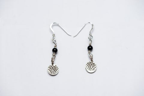 Thai Hand Made Hill Tribe Artisan Silver Earrings Lotus Onyx