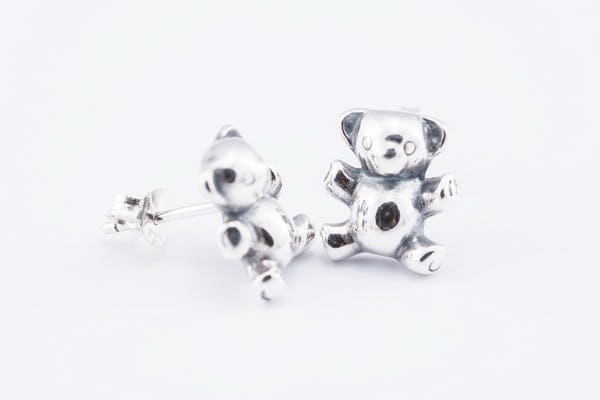 Sterling Silver Thai Stud Earrings Bear