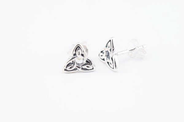 Sterling Silver Thai  Stud Earrings Celtic Triangle