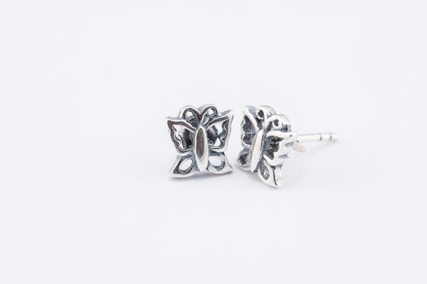 Sterling Silver Thai  Stud Earrings Butterfly