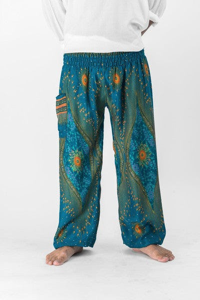 Peacock Eye Unisex Harem Pants in Turquoise