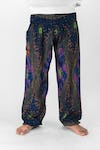 Peacock Eye Unisex Harem Pants in Navy