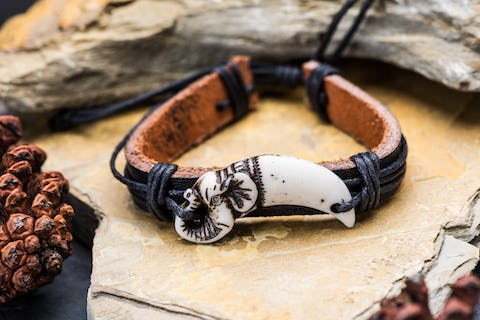 Hand Made Woven Leather Adjustable Bracelets With Ivoly Charm and Beads