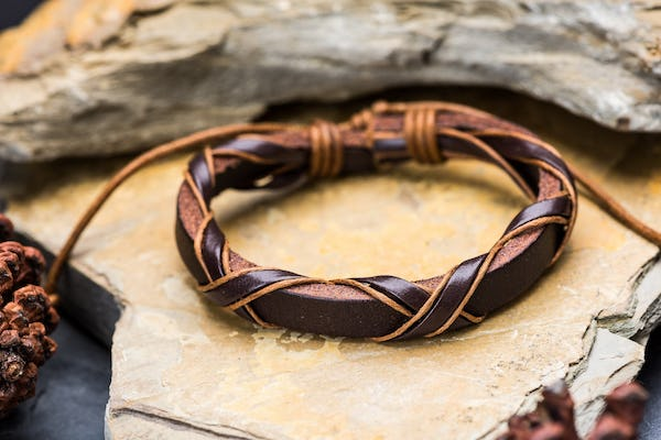 Fair Trade Hand Made Woven Leather Bracelet Wrap Dark Brown