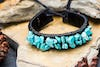 Hand Made Woven Waxed String Leather Adjustable Bracelets With Turquoise Stone