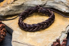 Fair Trade Hand Made Woven Leather Brown Bracelet Gold Star