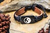 Hand Made Woven Leather Adjustable Bracelets With Yin Yang Charm
