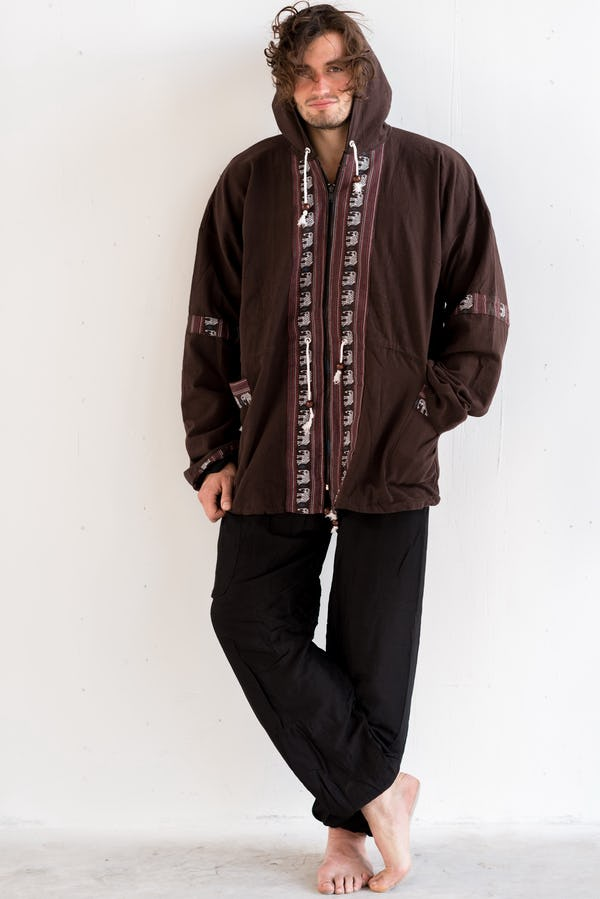 Thai Traditional Unisex Woven Cotton Fabric Hoodies With Delicate Embroidery Brown