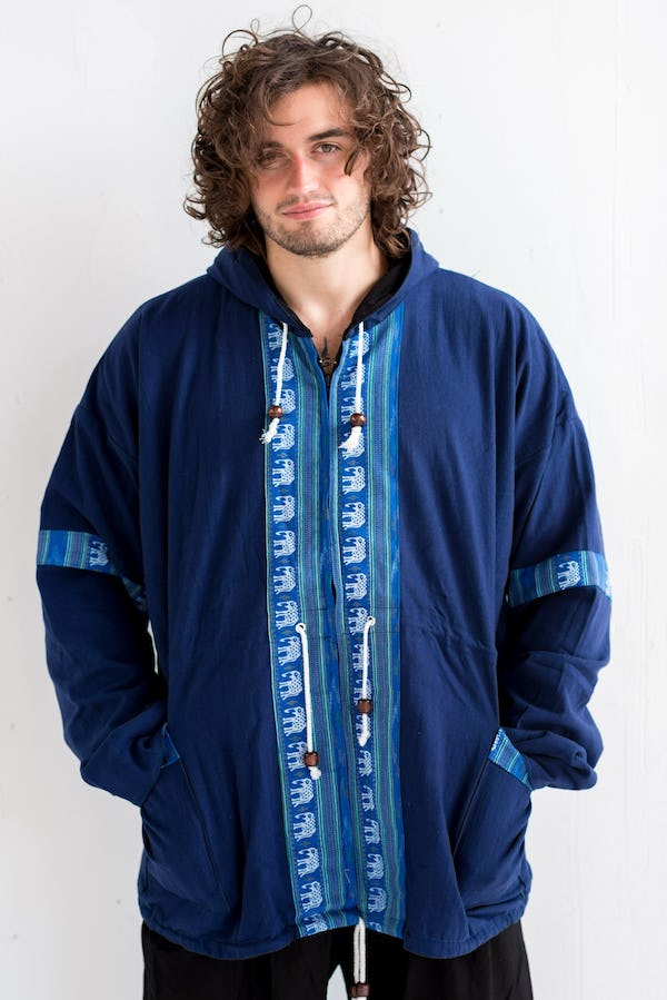 Unisex Thai Hill Tribe Hoodies with Embroidered Elephants Trim in Blue