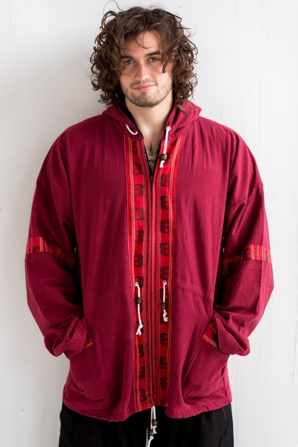Thai Traditional Unisex Woven Cotton Fabric Hoodies With Delicate Embroidery Maroon