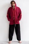 Unisex Thai Hill Tribe Hoodies with Embroidered Elephants Trim in Maroon