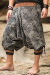 Unisex Paisley Thai Hill Tribe Fabric Harem Pants with Ankle Straps