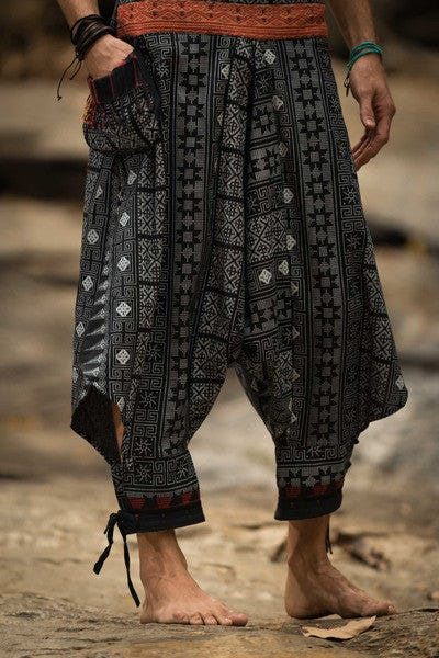 Tranditonal Prints Thai Hill Tribe Fabric Unisex Harem Pants with Ankle Straps