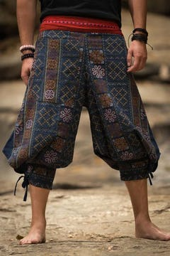 Floral Elephant Unisex Low Cut Harem Pants in Blue