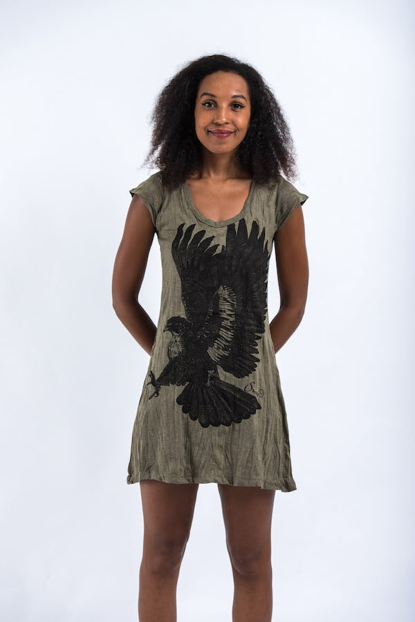 Sure Design Womens Eagle Dress Green