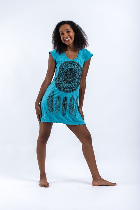 Womens Dreamcatcher Dress in Turquoise