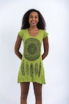 Womens Dreamcatcher Dress in Lime
