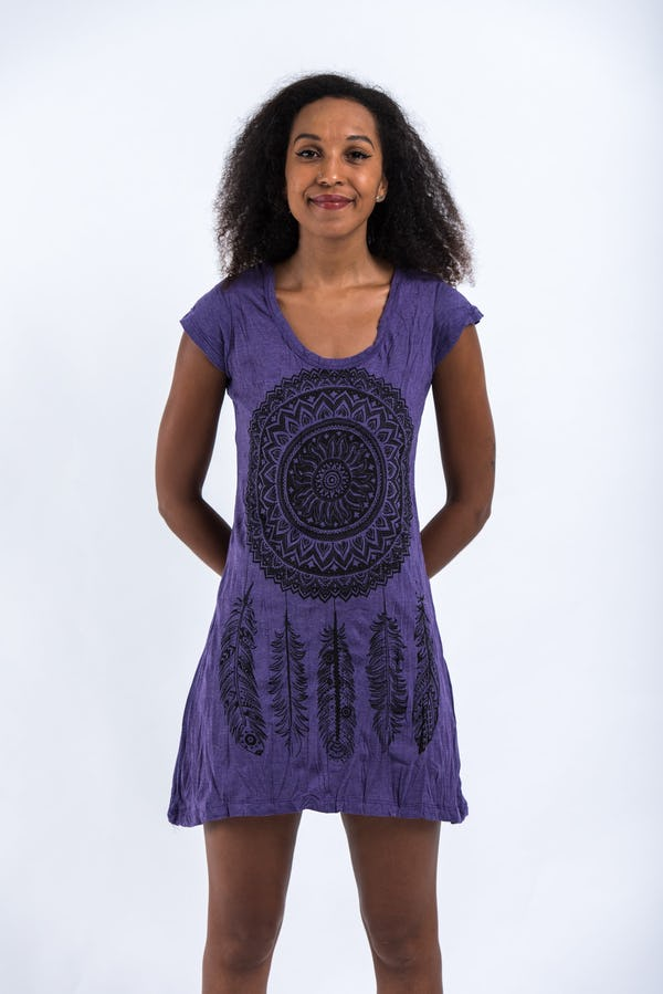 Womens Dreamcatcher Dress in Purple