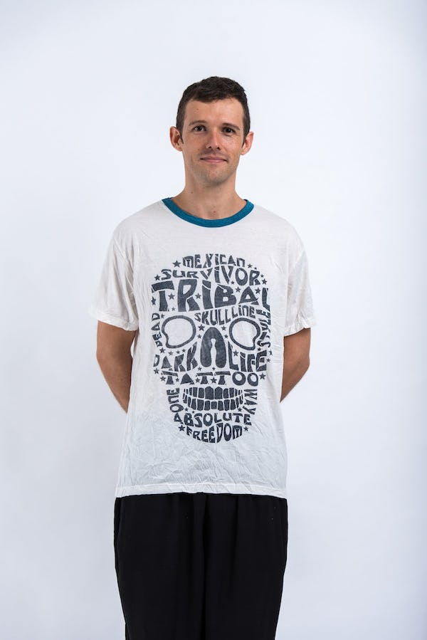 Sure Design Mens Tribal Skull T-shirt Blue on White