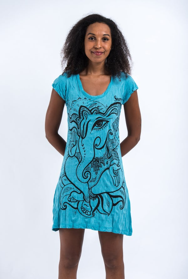 Womens Cute Ganesh Dress in Turquoise